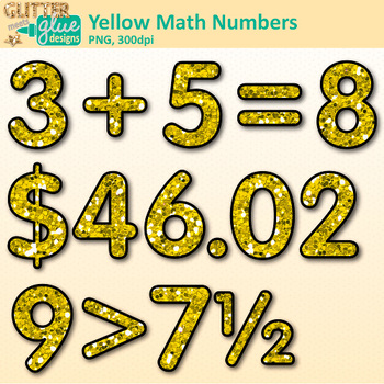 Yellow Glitter Math Numbers Clip Art {Great for Classroom Decor & Resources}