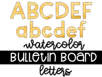 Yellow Gold Watercolor Bulletin Board Letters