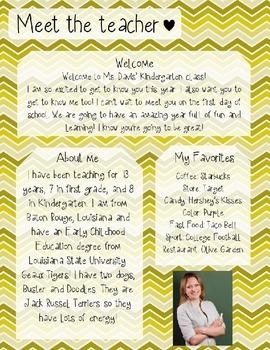 Yellow Gradient Chevron Meet The Teacher Template **Editable**
