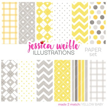 Yellow & Gray Baby Digital Papers, Pale Yellow Papers