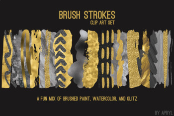Yellow Gray Brush Strokes Paint Glitter Foil Watercolor 20 PNG Clip Art 12in CU