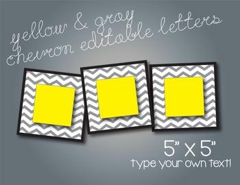 Yellow & Gray Chevron Editable 5x5 Cards