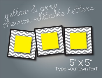 Yellow & Gray Chevron Editable 5x5 Cards