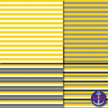 Yellow & Gray Chevron, Polka Dot & Striped Papers for Backgrounds and More