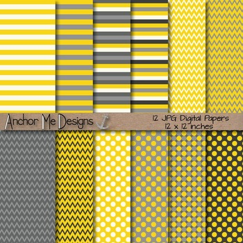 Yellow & Gray Chevron, Polka Dot & Striped Papers for Back