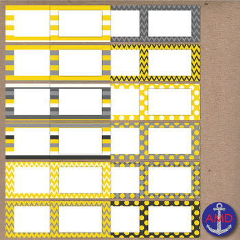 Yellow & Gray Clip Art Chevron Polka Dot & Striped Post-its, Labels & Notecards