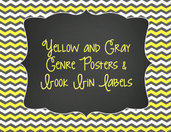 Yellow & Gray Decor: Genre Posters & Book Bin Labels