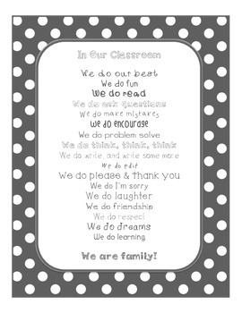 Gray In Our Classroom, We Do Poster (Yellow & Gray Decor)