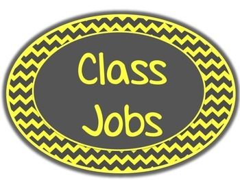 Yellow & Gray: Classroom Jobs Poster & Editable Job Labels
