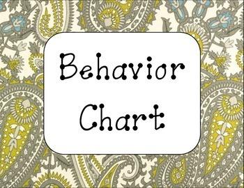 Yellow & Gray Paisley Behavior Clip Chart