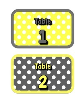 Yellow & Gray: Table Numbers