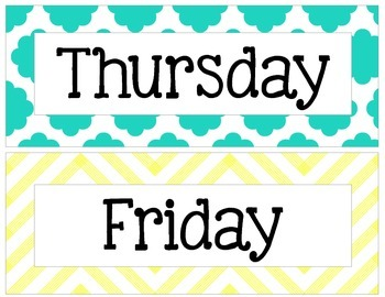 Yellow, Gray, and Teal Chevron and Quatrefoil Days of the Week Signs