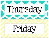 Yellow, Gray, and Teal Chevron and Quatrefoil Days of the