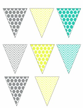 Yellow, Gray, and Teal Chevron and Quatrefoil Mini Banner- EDITABLE & FREE