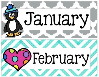 Yellow, Gray, and Teal Chevron and Quatrefoil Months of the Year Signs