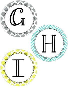 Yellow, Gray, and Teal Chevron and Quatrefoil Word Wall Labels
