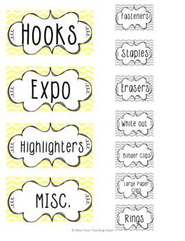 Yellow/Gray chevron teacher labels EDITABLE!!!