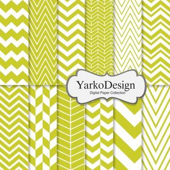Yellow Green Chevron Digital Scrapbooking Paper Set, 12 Digital Paper Sheets