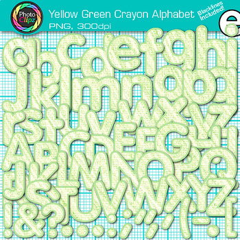 Yellow-Green Crayon Alphabet Clip Art {Great for Classroom Decor & Resources}