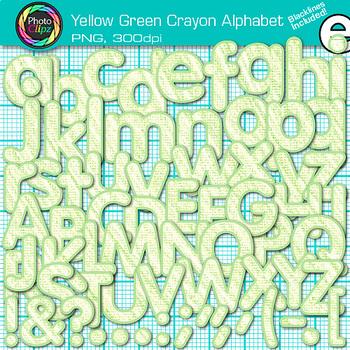 Yellow-Green Crayon Alphabet Clip Art {Great for Classroom