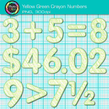 Yellow-Green Math Numbers Clip Art {Great for Classroom Decor & Resources}