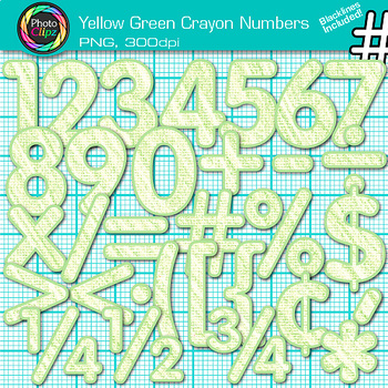 Yellow-Green Math Numbers Clip Art {Great for Classroom De