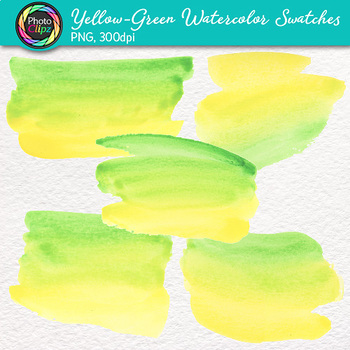 Yellow-Green Watercolor Swatches Clip Art {Hand-Painted Textures for Background}