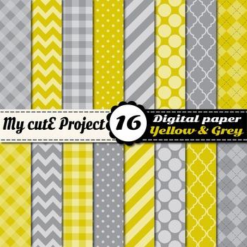 "Yellow & Grey DIGITAL PAPER - Scrapbooking- A4 & 12x12"" - Stripes..."