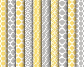 Yellow Grey Digital Papers, Yellow, Grey, Digital, Set #256