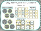 Classroom Decor Yellow, Grey, and Teal Bundle