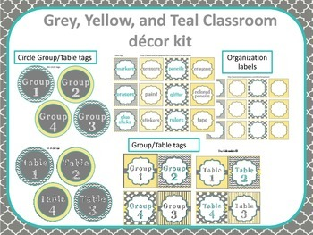 Classroom Decor Yellow, Grey, and Teal Bundle