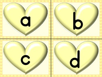 Yellow Heart Alphabet Letter Flashcards Uppercase and Lowercase
