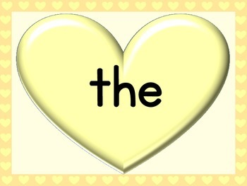 Yellow Heart Dolch Pre-Primer Sight Word Posters and Flashcards