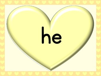 Yellow Heart Dolch Primer Sight Word Posters and Flashcards