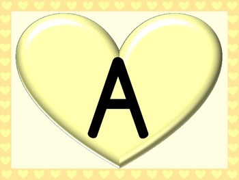 Yellow Heart Full Page Alphabet Letter Posters Uppercase and Lowercase