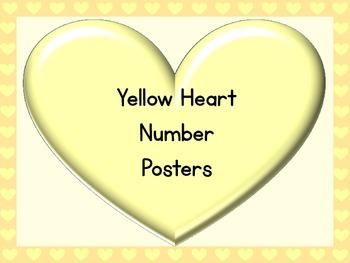 Yellow Heart Full Page Number Posters 0-100