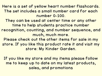 Yellow Heart Number Flashcards 0-100