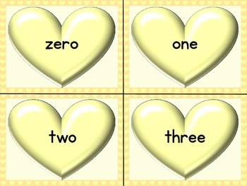 Yellow Heart Number Word Flashcards Zero To One Hundred
