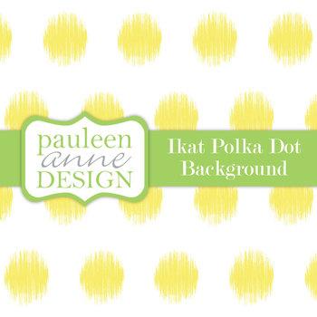 Yellow Ikat Polka Dot Background