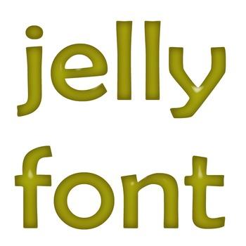 Alphabet Clip Art Yellow Jelly + Numerals, Math Symbols & Punctuation Marks