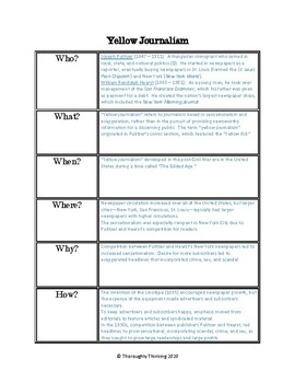 Yellow Journalism Graphic Organizer with Key