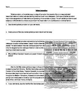 Yellow Journalism, Manifest Destiny, and the Spanish-American War