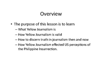 Yellow Journalism Then and Now:  An investigation of the Philippine Insurrection