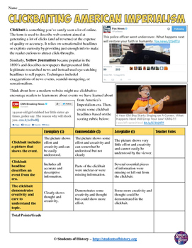 Yellow Journalism and Clickbait Headline Project for American Imperialism