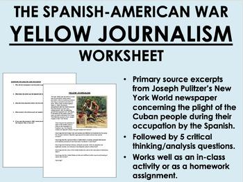 Yellow Journalism worksheet - Spanish-American War - US Hi