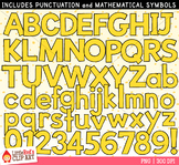Yellow Letters and Numbers Clip Art