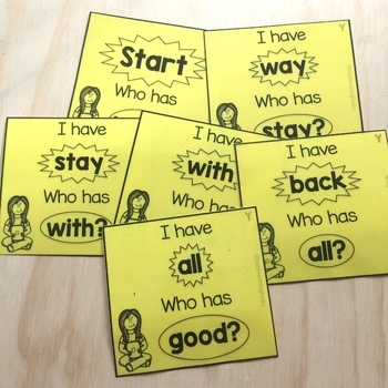 New Zealand Sight Words - Yellow Level Sight Word Game - I have Who Has