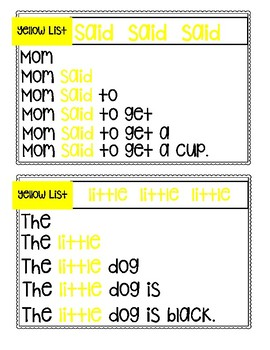 Yellow List Sight Word Pyramid Sentences