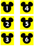 Yellow Mickey Date Cards for Calendar