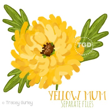 Yellow Mum Clip Art- Hand Painted Clip Art Printable Tracey Gurley Designs